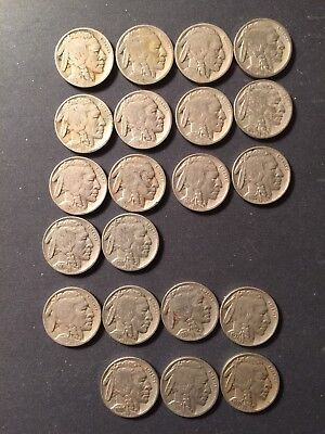 US BUFFALO INDIAN NICKELS 21pc ALL DIFFERENT VISIBLE DATES/ 4 Ds, 3 Ss Nice Lot