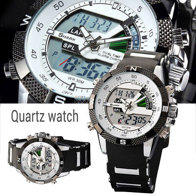 Men's Digital Quartz Wrist Watch Shark Sport Army LCD Date Day Silicone Y2U6L UK