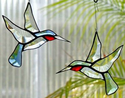 Leaded Glass Window Image Suncatcher Faceted Hummingbird Pair in Tiffany