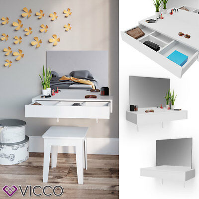 VICCO coiffeuse ALESSIA blanche commode à tiroirs miroir mural