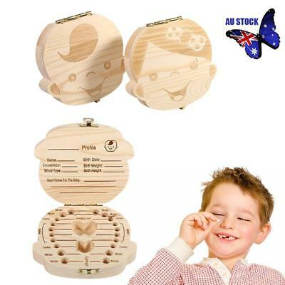 Wooden Kids Baby Tooth Box Milk Teeth Wood Storage Box Keepsake Holder Boy Girl