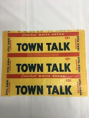 "Vintage Braun's Town Talk Bread Wrapper Waxed Type 1942 ""Braun's Of Pittsburgh"""