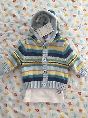 Marks & Spencer Baby Boy Hooded Cardigan And Top With Tags - Newborn