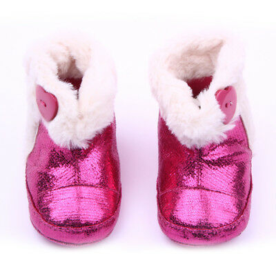 Rose Red Winter Warm Baby Toddler Girls Boots Shoes Soft Sole Anti-Slip 13.5cm