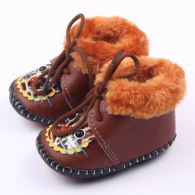 #6 Brown Newborn Infant Baby Girl Warm Lace Shoes PU Toddler Prewalker 16 Code