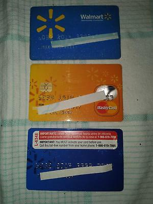 3 Walmart Store Cards - 1 Mastercard  -  Collectible Only