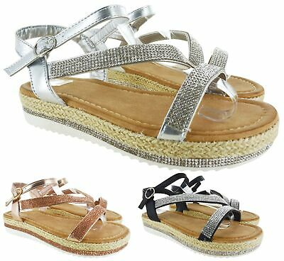 Ladies Womens Low Heel Flat Espadrilles Diamante Summer Sandals Shoes Size 3-8