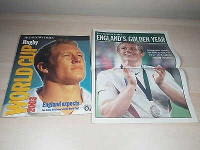 Sunday Times England Rugby 2003 World Cup Special Supplement Jonny Wilkinson VGC