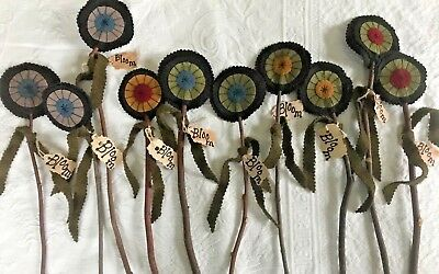 10 Hand crafted Primitive Wool Flowers w/ branches ~ Made By Seller   (Group BB)