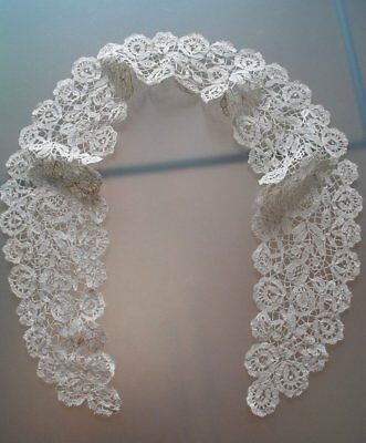 Antique Irish Honition Lace Hand Done Very Fine Collar