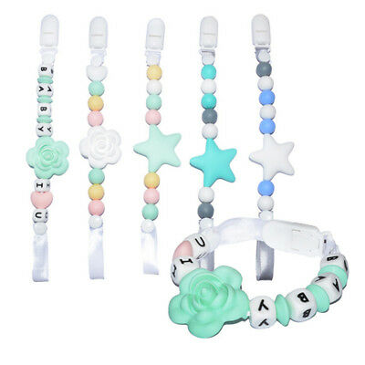 Non-toxic Bead Silicone Soother Baby Chew Dummy Pacifier Clip Teething Toy PS1
