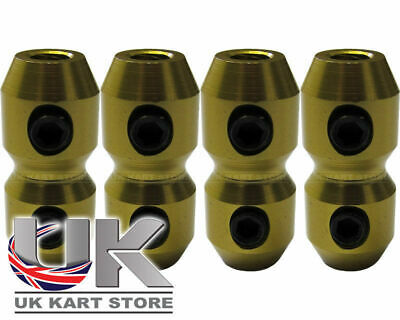 Aluminium Anodised Cable Clamp x 4 for Brake & Throttle in Gold Go Kart