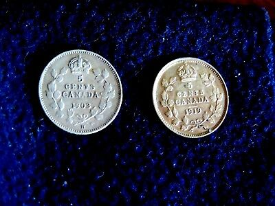 Lot Of Two Canadian Silver Five Cent High Grade Coins: 1903-H 1919