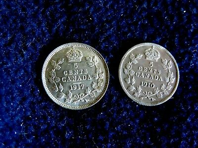 Lot Of Two Canadian Silver Five Cent High Grade Coins: 1910 And 1917
