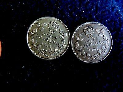 Lot Of Two Canadian Silver Ten Cent High Grade Coins: 1918 And 1923