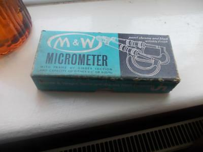VINTAGE M & W 096M 0-25mm MICROMETER  WITH ORIGINAL BOX TOOLS AND PACKAGING