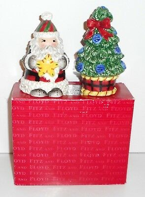 Fitz and Floyd Christmas Salt and Pepper HOMESPUN HOLIDAYS SANTA and TREE In Box