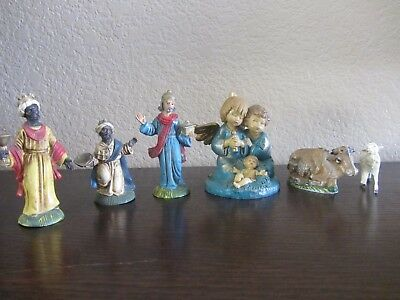 Lot Of 6 Vintage Hand Made And Hand Painted Nativity Figures From Italy Marked