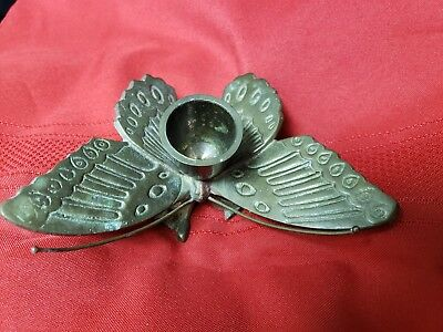 Solid Brass Beautiful Butterfly Candle Holder GREAT PATINA