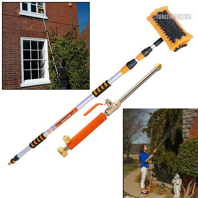 3 Metre Telescopic Water Fed Wash Brush + High Pressure Power Washer Lance