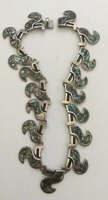 Vintage 925 Sterling Silver Abalone Necklace Signed Miguel Mexico Taxco Aztec