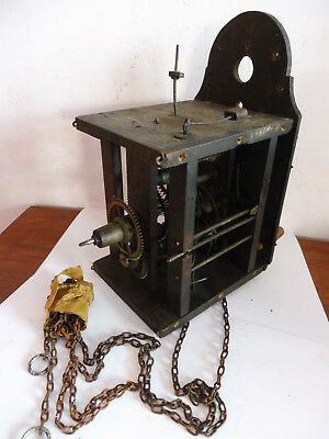 Antique Wooden Cased Weight & Chained Postmans Wall Clock Bell Strike Movement ,
