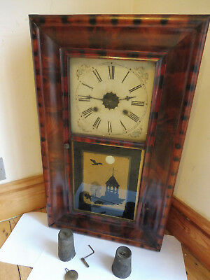 *antique American Veneered Mantle/wall Pulley Clock Case With Original Movement