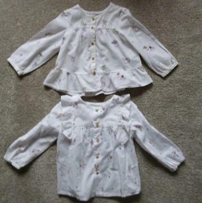 Zara Baby Girl Two Frilled Long Sleeved Tops Age 12 - 18 Months