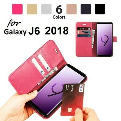 NEW Luxury Magnetic Leather Flip Case Wallet Cover For Samsung Galaxy J6 2018