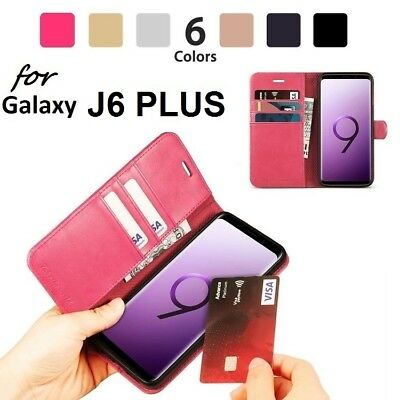 NEW Luxury Magnetic Leather Flip Case Wallet Cover For Samsung Galaxy J6 Plus