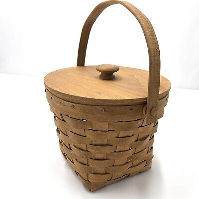 Longaberger Vtg Basket Small Square Bottom Round Wooden Lid Mint Condition