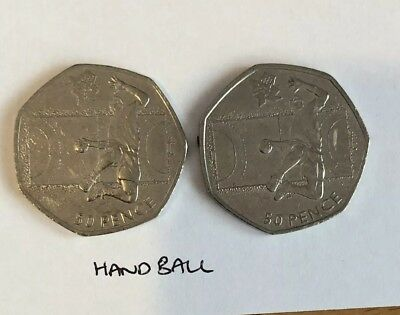 2011 50P FIFTY PENCE COIN LONDON OLYMPIC 2012 HANDBALL Circulated