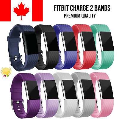 For Fitbit Charge 2 Band Replacement Straps Silicone Small Large Black Bands