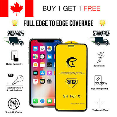 9D Full Coverage Premium Tempered Glass Screen Protector For iPhone X XS Edge To
