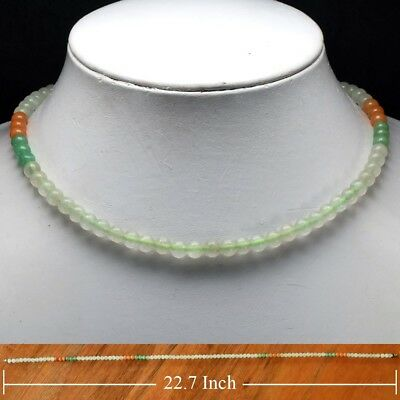Rare! 151.18ct 6mm Necklace Natural Untreated Green & Yellow Jade 22.7 Inches