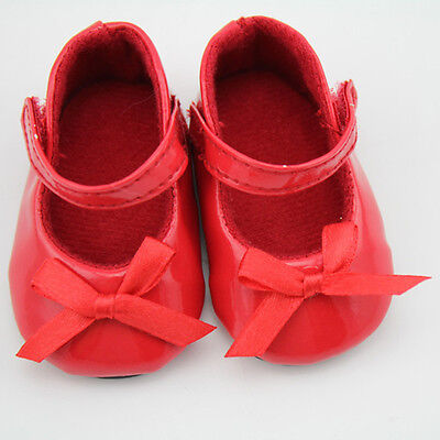 Handmade Red Flats Shoes w/Bow for 18 inch General Girl Doll Party Clothes