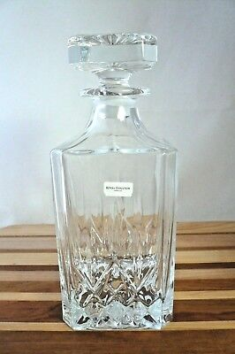 Royal Doulton London Seasons Crystal Whiskey or Spirits Decanter, Square Stopper