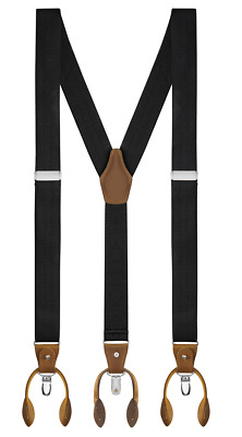 Buyless Fashion Suspenders Y-Back Adjustable Strong Clips & Leather Button End