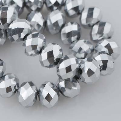 3~18MM Silver 5040# Faceted Rondelle Loose Crystal Glass Beads Lot DIY Jewelry