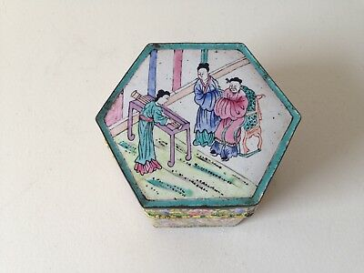 Antique Chinese Canton Enamel Yellow Ground Faceted Box Figures Gu Sheng