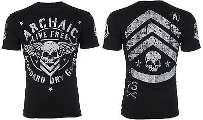 ARCHAIC by AFFLICTION Mens T-Shirt STRONG CREST Motorcycle BLACK Biker UFC $40