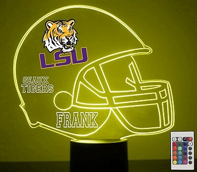 LSU Tigers NCAA College Football Light Up Lamp LED Remote Personalized Free Lamp
