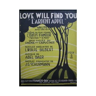 BAER Abel Love Will Find You Chant Piano 1929 partition sheet music score