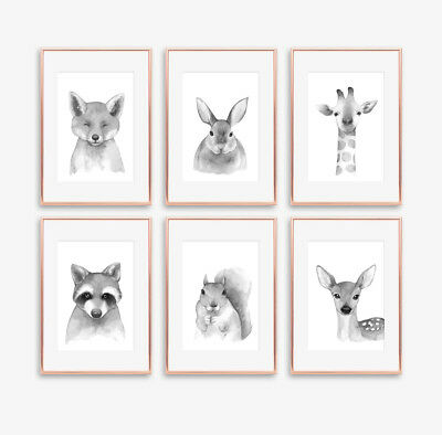 Neutral Grey Woodland Animal Baby Nursery Prints Childrens Bedroom Decoration