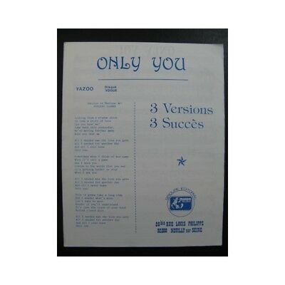 Only You Chanson partition sheet music score