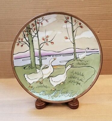 Unusual Old Vintage Nippon Hand Painted Plate with Geese 10""