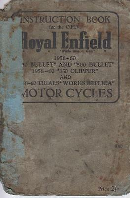 Royal Enfield 350 500 Bullet 350 Clipper & Trials Replica '56-60 Owners Handbook