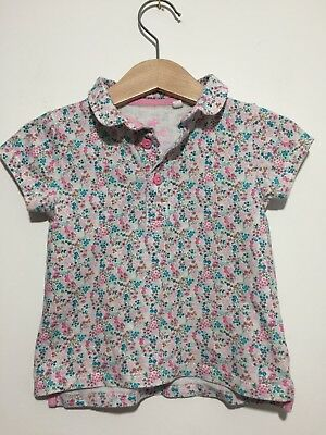 Great Condition Baby Girl 9-12 Months Floral Polo Shirt Top T Shirt Next
