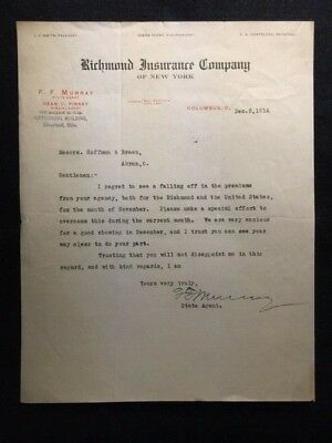 1914   Richmond Insurance Company Of New York  Letterhead Ephemera!