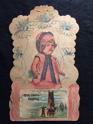 VINTAGE ANTIQUE 1800s / EARLY 1900s {{{HAND-MADE}}} CHILDS GREETING CARD!  RARE!